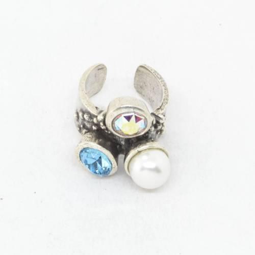 Anillo mujer Zamak baño plata cristal ROJO anillos bisuteria regalo cristales